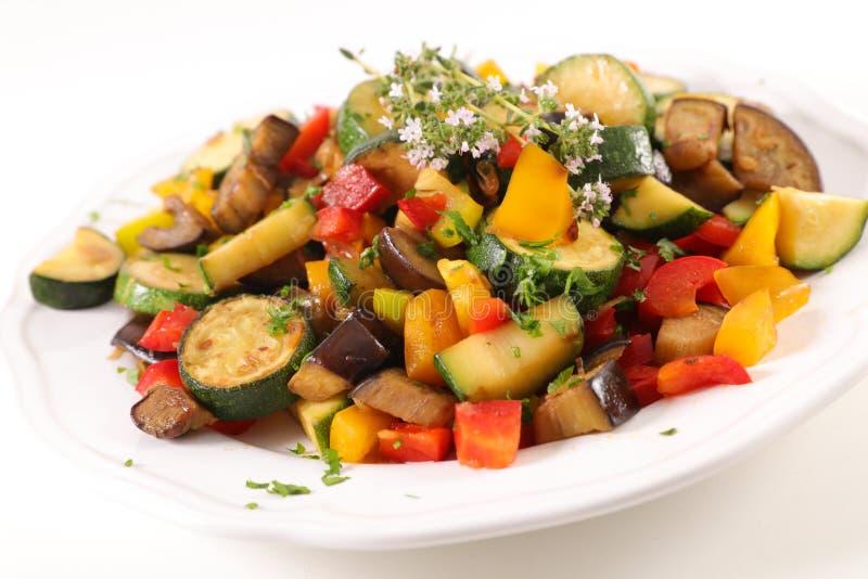 Ratatouille. Vegetable stew on white stock images
