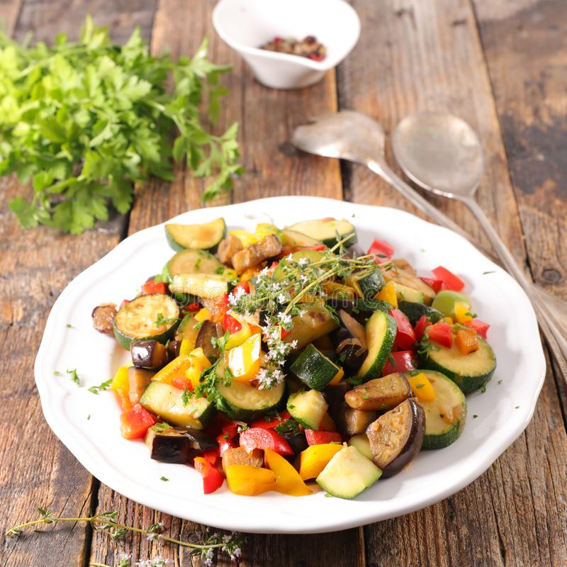 Ratatouille. Vegetable stew on wood royalty free stock photography