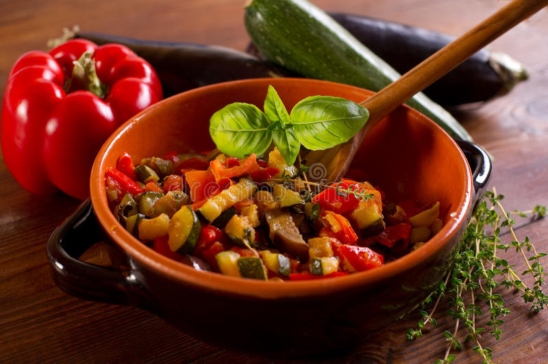 Ratatouille with spoon royalty free stock photo