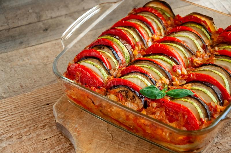 Ratatouille - Traditional Dish Of Provencal Cuisine. Healthy Vegetable Food. Wooden Background.  stock images