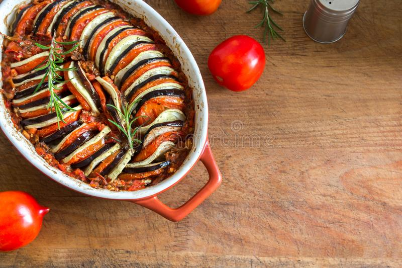 Ratatouille. Traditional French Provencal vegetable dish cooked in oven. Diet vegetarian vegan food -  casserole stock image