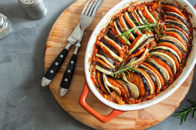 Ratatouille. Traditional French Provencal vegetable dish cooked in oven. Diet vegetarian vegan food -  casserole stock photography