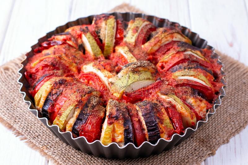 Ratatouille - traditional French Provencal vegetable dish cooked in oven royalty free stock photos