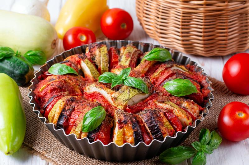 Ratatouille - traditional French Provencal vegetable dish cooked in oven stock photos