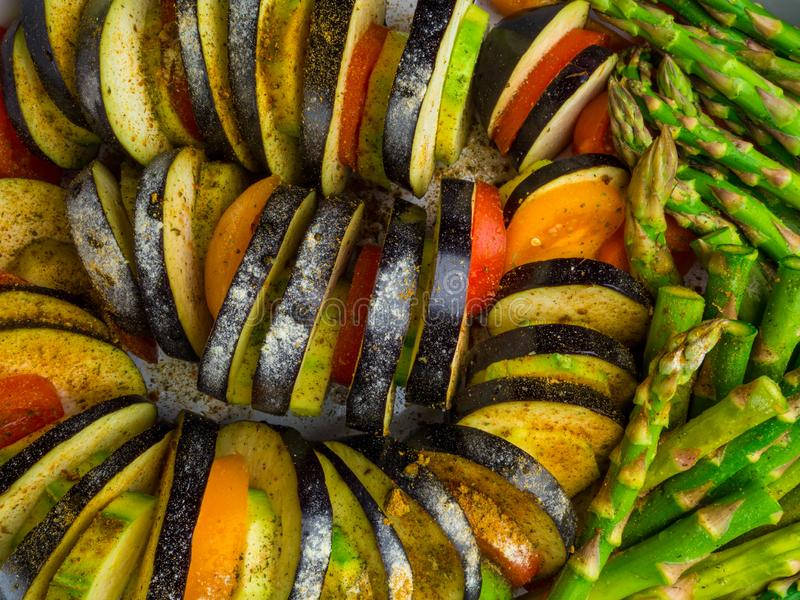 Ratatouille - traditional French Provencal vegetable dish cooked in oven. Diet vegetarian vegan food - Ratatouille casserole. Close up royalty free stock images