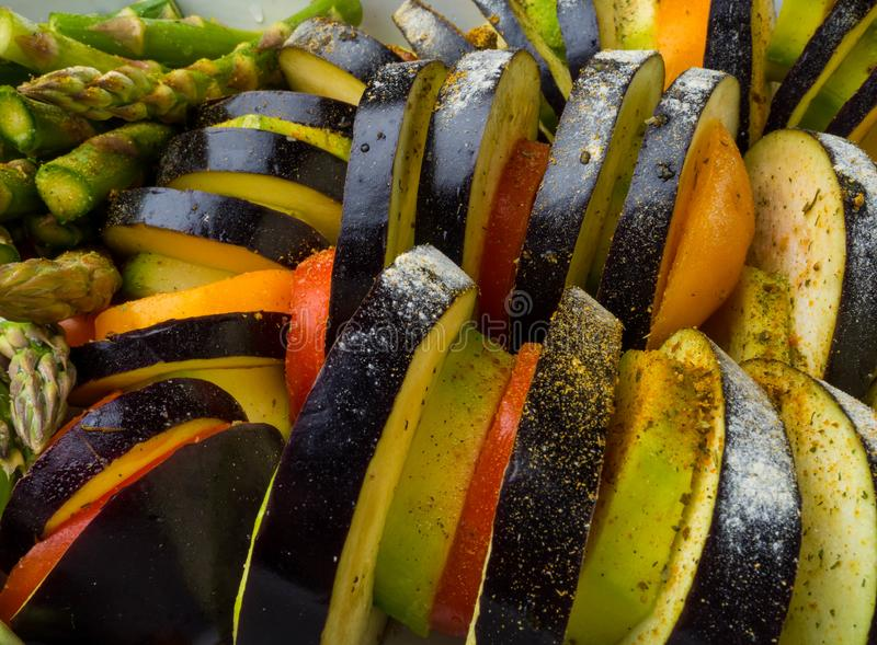 Ratatouille - traditional French Provencal vegetable dish cooked in oven. Diet vegetarian vegan food - Ratatouille casserole. Close up stock photos