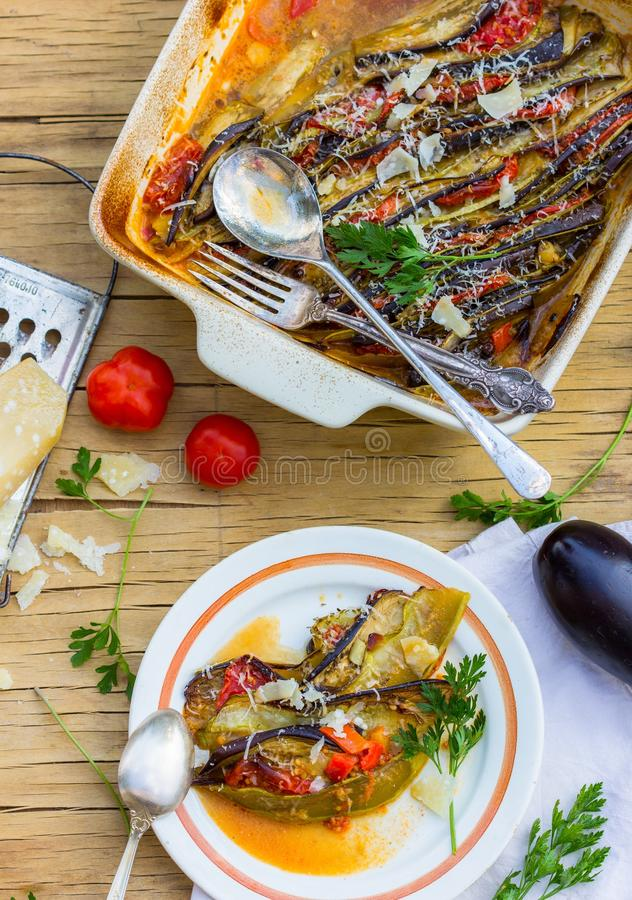 Ratatouille - traditional French Provencal vegetable dish cooked in oven. Diet vegetarian vegan food - Ratatouille casserole. NnRatatouille - traditional French royalty free stock image