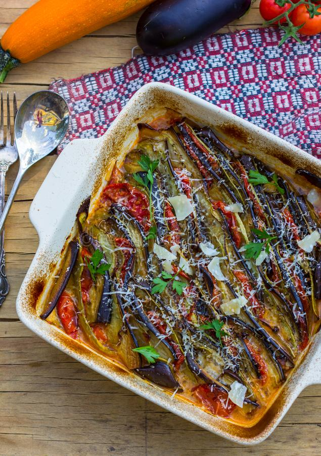 Ratatouille - traditional French Provencal vegetable dish cooked in oven. Diet vegetarian vegan food - Ratatouille casserole. NRatatouille - traditional French royalty free stock image