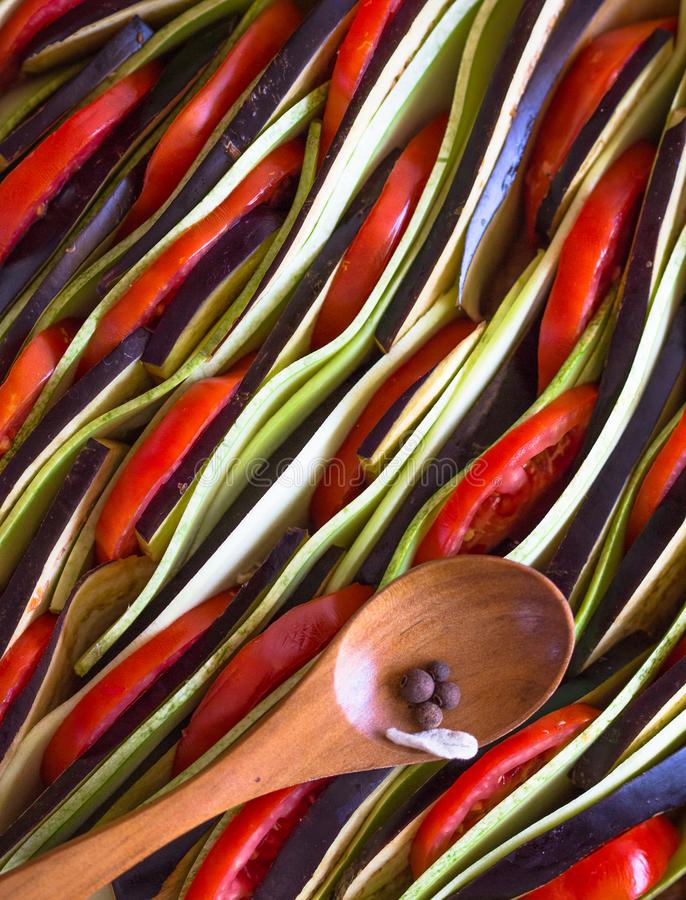 Ratatouille - traditional French Provencal vegetable dish cooked in oven. Diet vegetarian vegan food - Ratatouille casserole. stock image