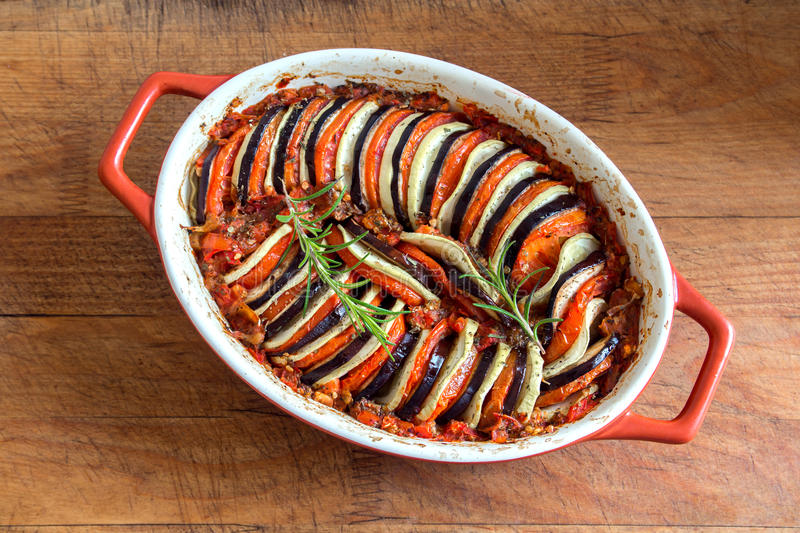 Ratatouille. Traditional French Provencal vegetable dish cooked in oven. Diet vegetarian vegan food -  casserole royalty free stock image