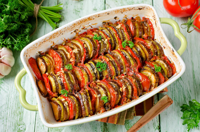 Ratatouille - traditional French Provencal vegetable dish cooked. In oven. Homemade preparation recipe healthy diet stock photos