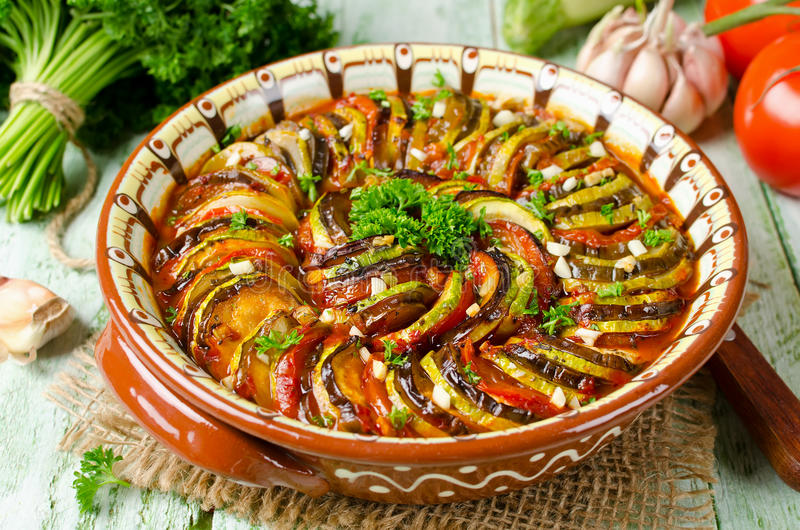 Ratatouille - traditional French Provencal vegetable dish cooked. In oven. Homemade preparation recipe healthy diet stock image