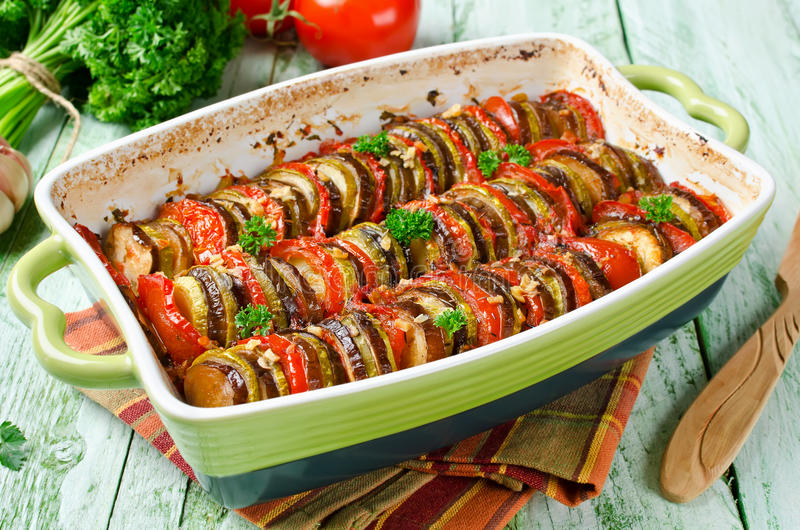 Ratatouille - traditional French Provencal vegetable dish cooked. In oven. Homemade preparation recipe healthy diet royalty free stock image