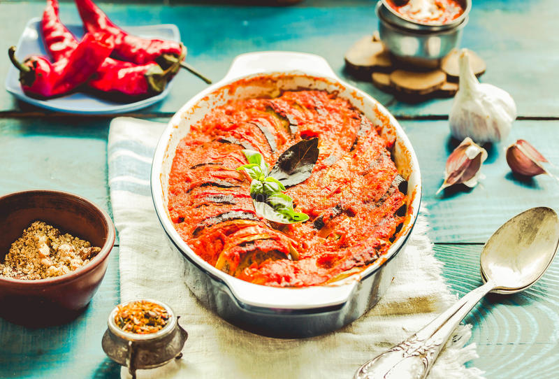 Ratatouille - traditional French Provencal vegetable dish cooked. In oven.Vegan healthy lunch.Toning royalty free stock photo