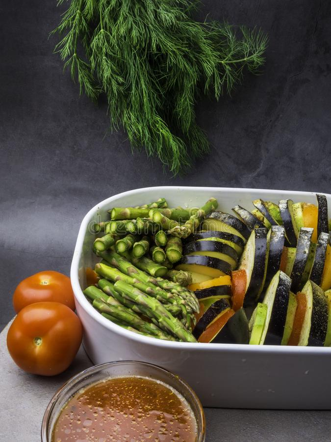 Ratatouille - traditional French Provencal vegetable dish cooked in oven. Vegetarian food, health food concept royalty free stock photography