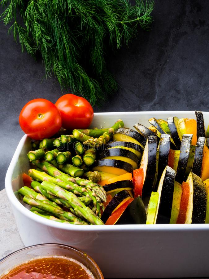 Ratatouille - traditional French Provencal vegetable dish cooked in oven. Vegetarian food, health food concept stock photography