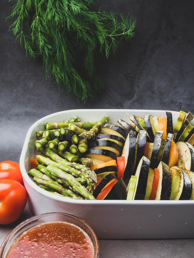 Ratatouille - traditional French Provencal vegetable dish cooked in oven. Vegetarian food, health food concept stock photos