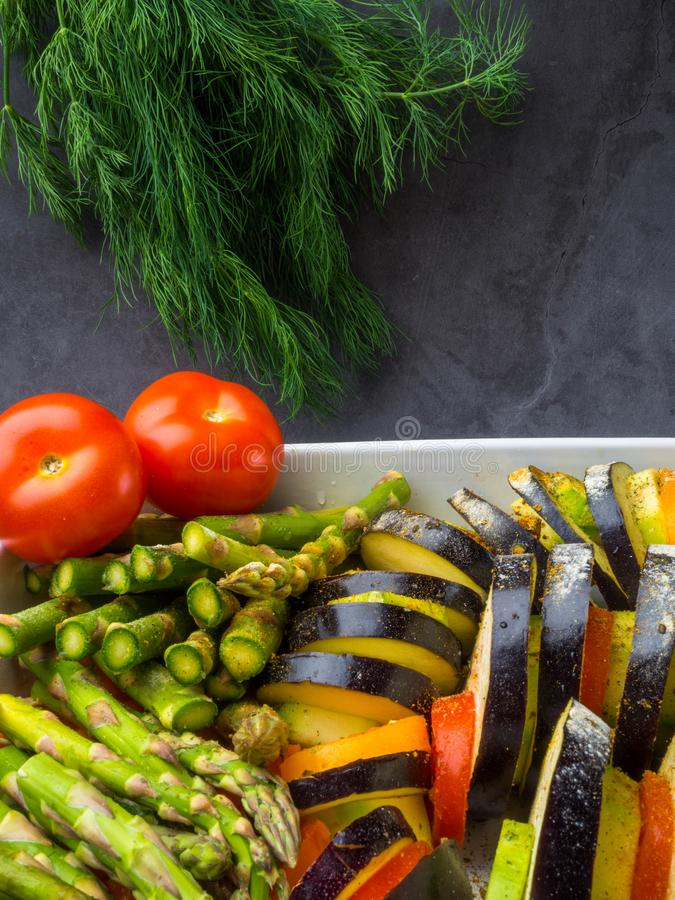 Ratatouille - traditional French Provencal vegetable dish cooked in oven. Vegetarian food, health food concept stock images