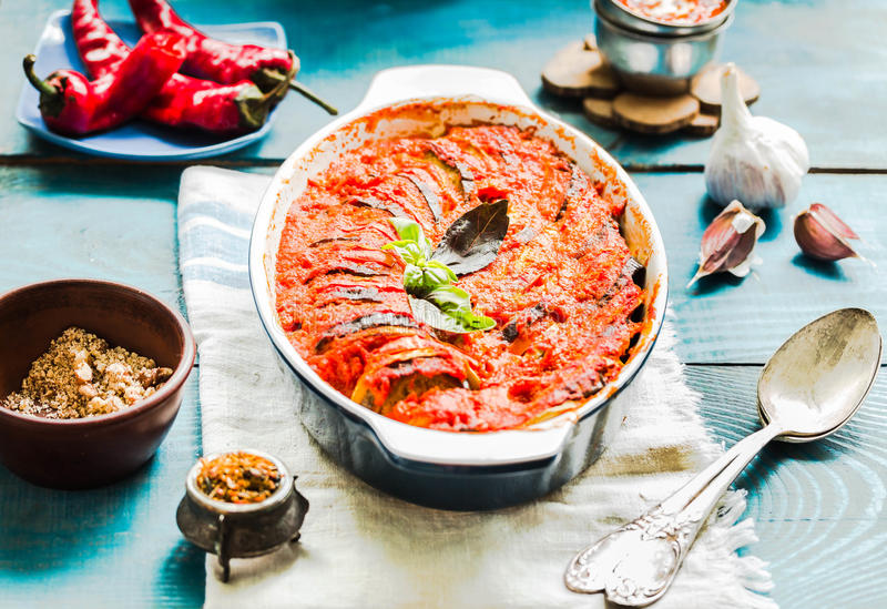 Ratatouille - traditional French Provencal vegetable. Vegetarian. Ratatouille - traditional French Provencal vegetable dish cooked in oven.Vegan healthy lunch stock photo