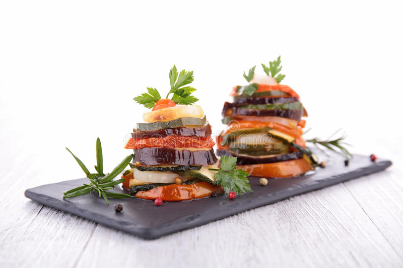 Ratatouille, vegetable baked, tian. With studio light royalty free stock images