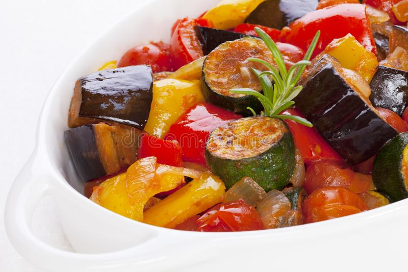 Ratatouille on White. Ratatouille, famous French dish from Provence, on white stock photography