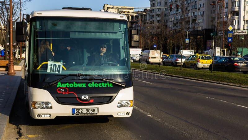 RATB - Electric Bus Testing Day. Electric bus SOR EBN 10,5 City tested by Regia Autonomă de Transport Bucureşti (RATB stock images