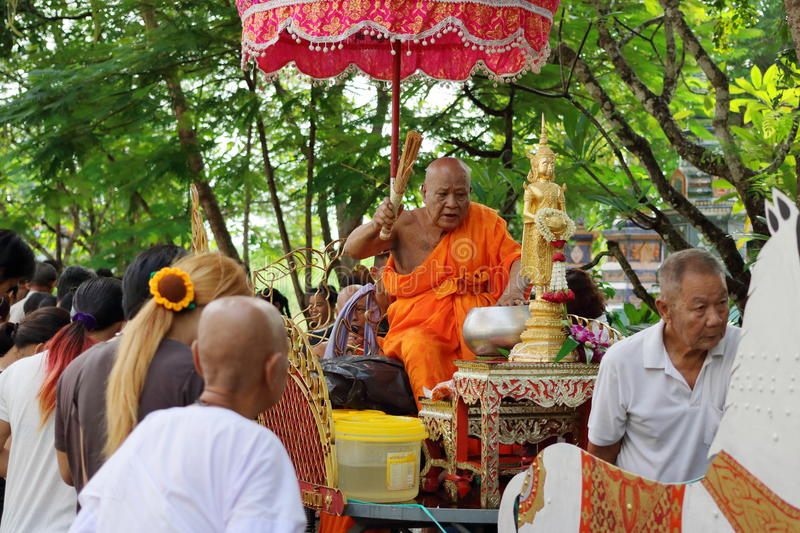 Ratchaburi, Thailand - October 18, 2016:Ratchaburi, Thailand - October 18, 2016:Buddhist monks are blessing to people in the end o royalty free stock photos