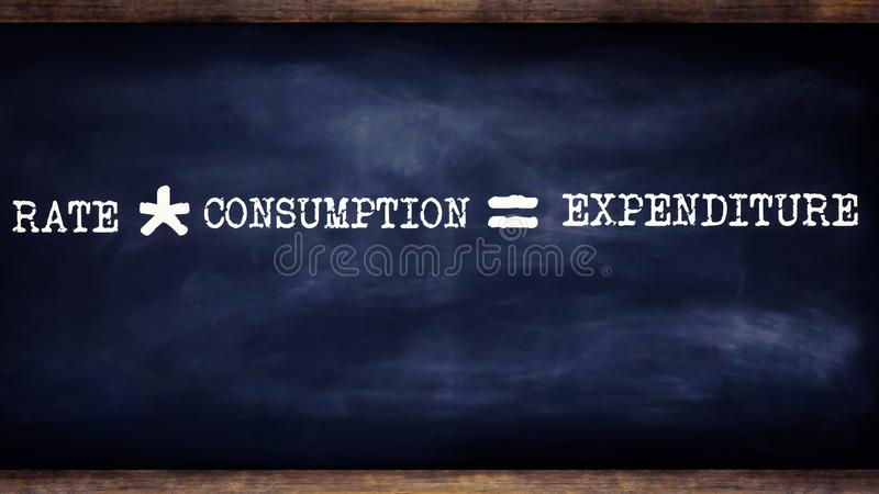 rate into consumption equal to expenditure equation written on chalkboard concept vector illustration