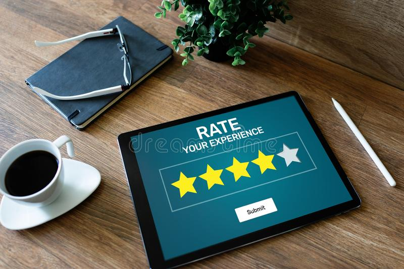 Rate customer experience review. Service and Customer satisfaction. Five Stars rating. Business internet concept. royalty free stock images