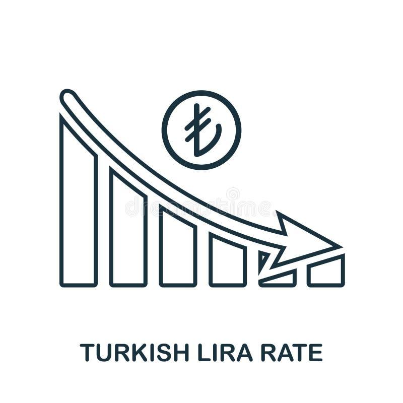 Rate Decrease Graphic för turkisk Lira symbol Mobil app, printing, webbplatssymbol Enkel beståndsdelallsång E stock illustrationer