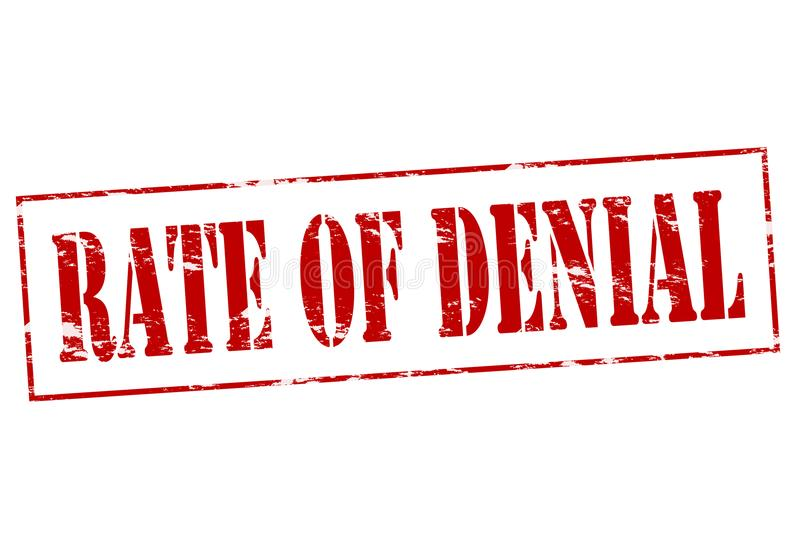 Rate of denial. Rubber stamp with text rate of denial inside, illustration royalty free illustration