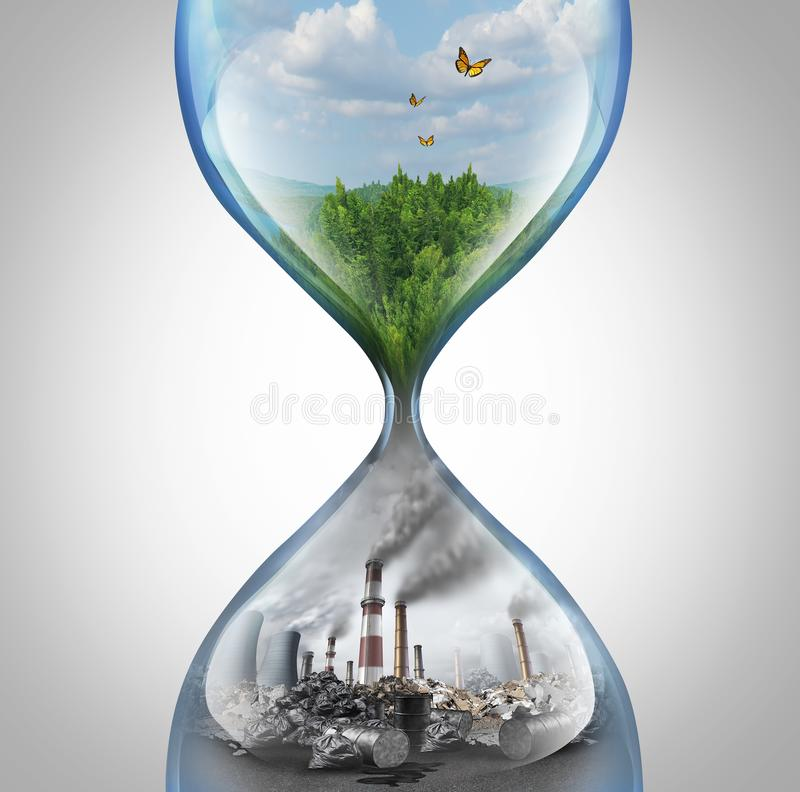 Rate Of Environmental Damage. And climate change urgency concept as a green natural habitat sinking into a pollution and toxic enviroment in a sand hourglass royalty free illustration