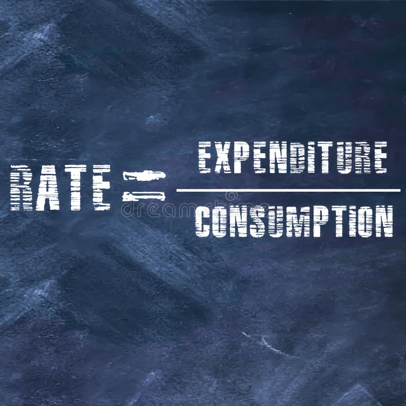 rate equal to expenditure upon consumption bussiness related equation on chalkboard illustrations stock photography