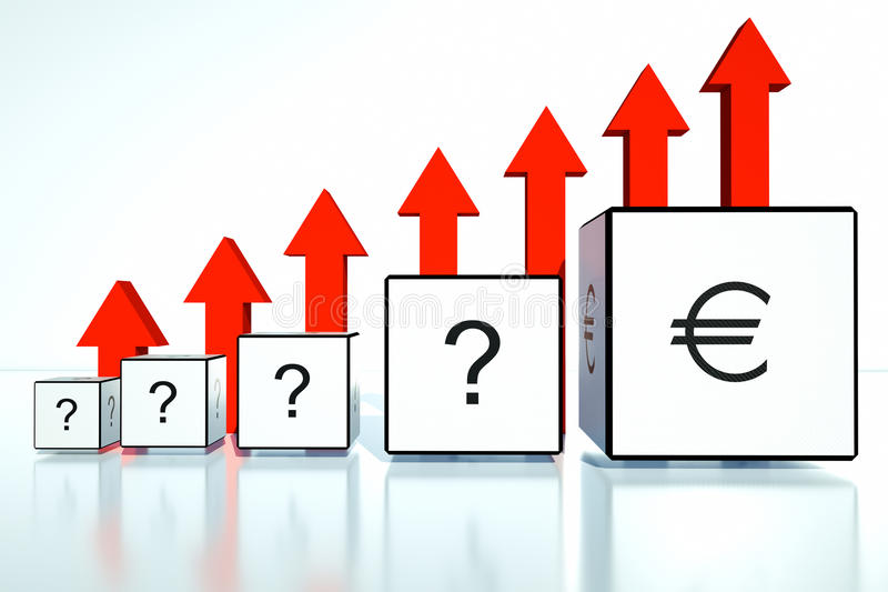Rate Increases In The Euro In Financial Position Royalty Free Stock Photo