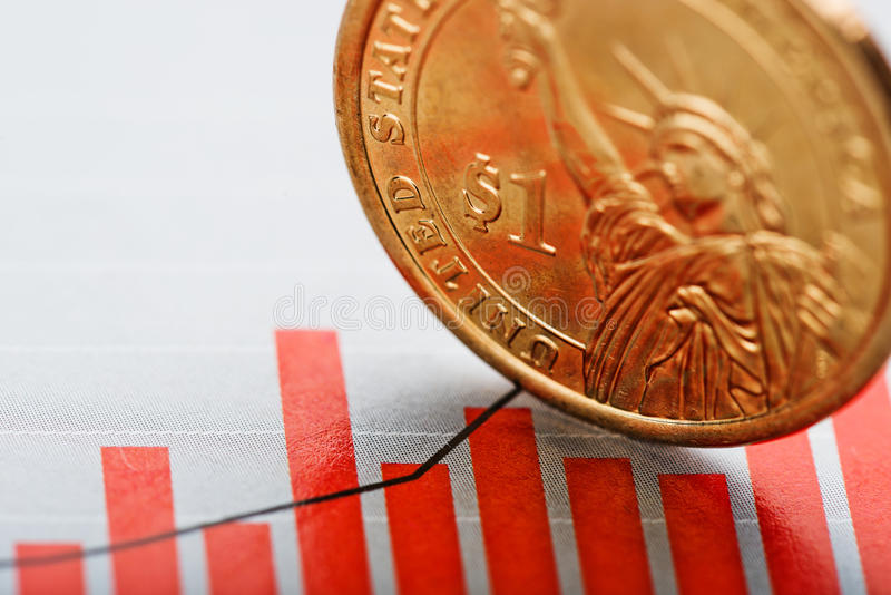 Rate of the us dollar shallow DOF. One dollar coin on fluctuating graph. Rate of the us dollar shallow DOF royalty free stock photo