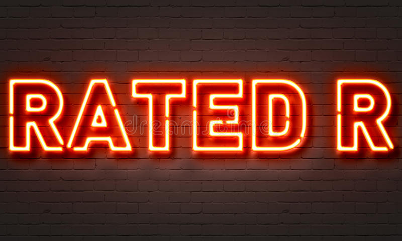 Rated R neon sign. On brick wall background vector illustration