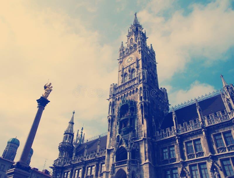 Rathaus市政厅大厦在慕尼黑,德国 库存照片