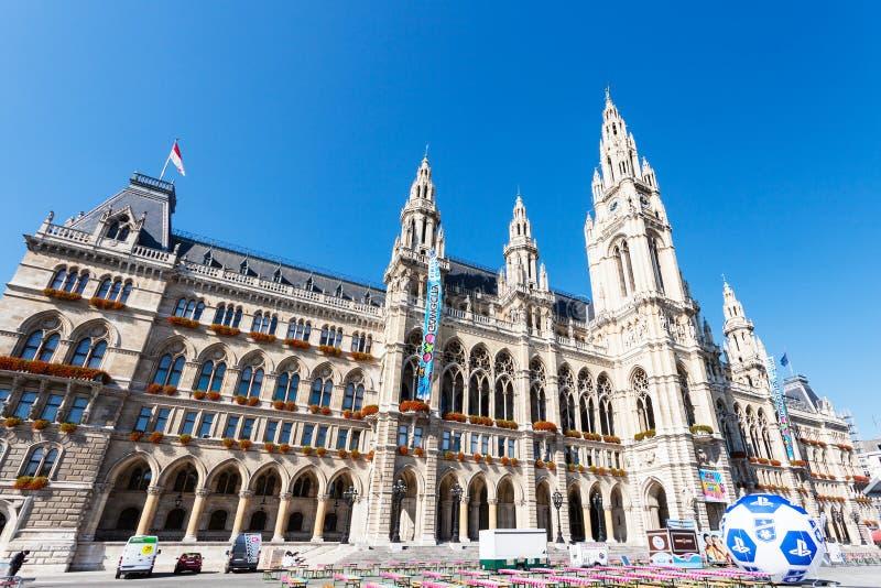 Rathaus (城镇厅)在维也纳 免版税图库摄影