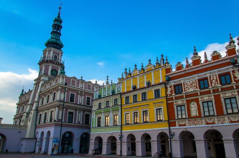 Rathaus auf großem Marktplatz, Zamosc, Polen lizenzfreie stockfotografie