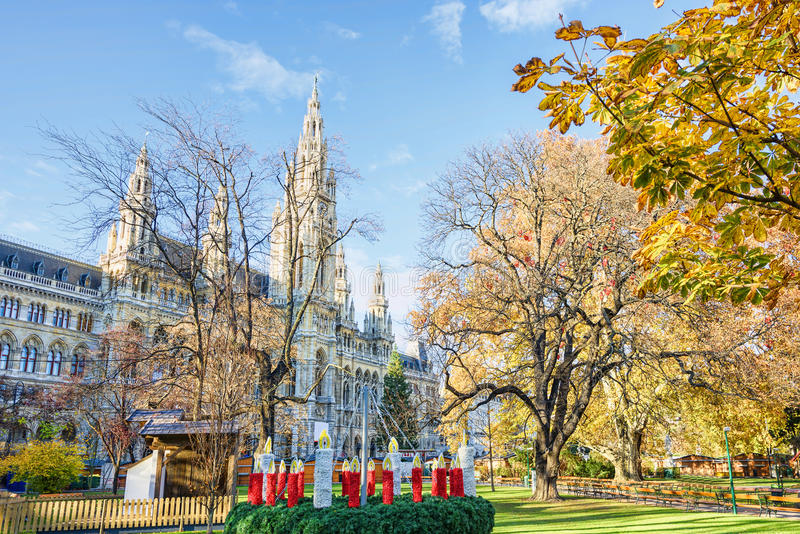 Rathaus, City Hall courtyard. With new year decorations, in Vienna, Austria, blue sky, sunny day stock photo