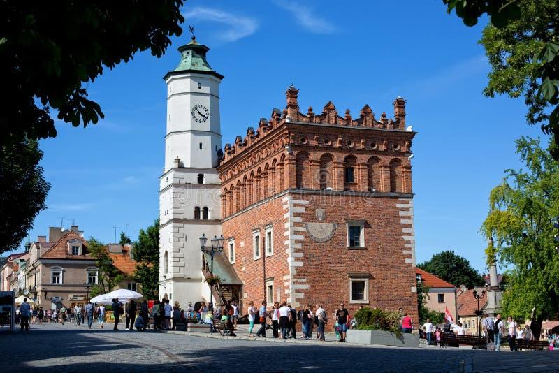 Rathaus in der alten Stadt in Sandomierz, Polen lizenzfreies stockfoto