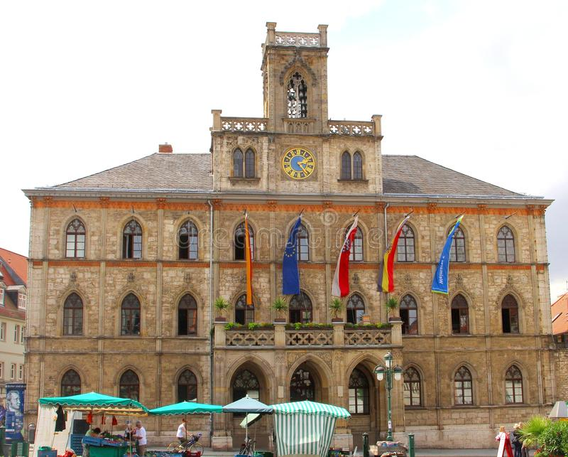Rathaus der UNESCO-Stadt Weimar, Deutschland lizenzfreies stockbild