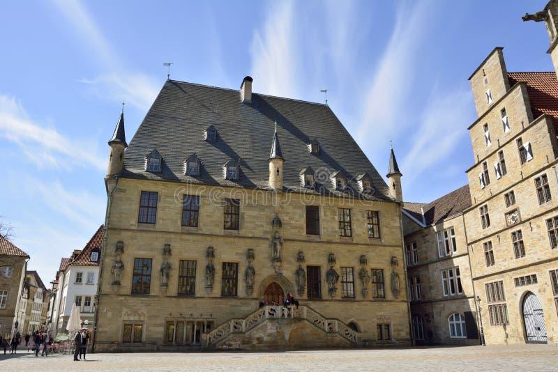 Rathaus die op Markt-vierkant in Osnabrück voortbouwen royalty-vrije stock afbeelding