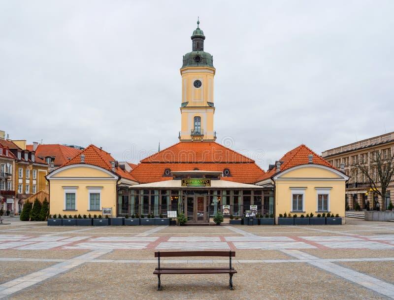 Rathaus, Esperanto Restaurant und Café in Bia?ystok, Marktplatz Kosciusko, Polen stockbilder