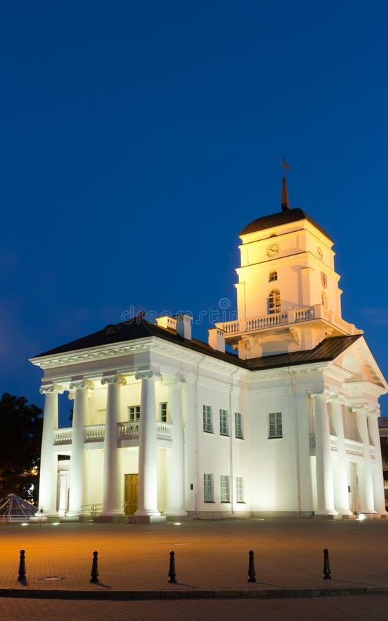 Rathaus-Freiheitsquadrat Nacht-Weißrusslands Minsk stockfotografie
