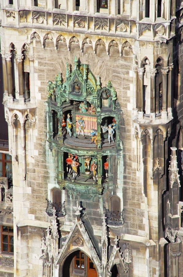 Rathaus-Glockenspiel Munich Marienplatz fotografering för bildbyråer