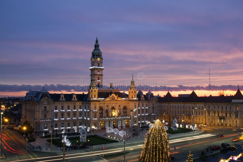 Rathaus, Gyor, Ungarn lizenzfreies stockbild