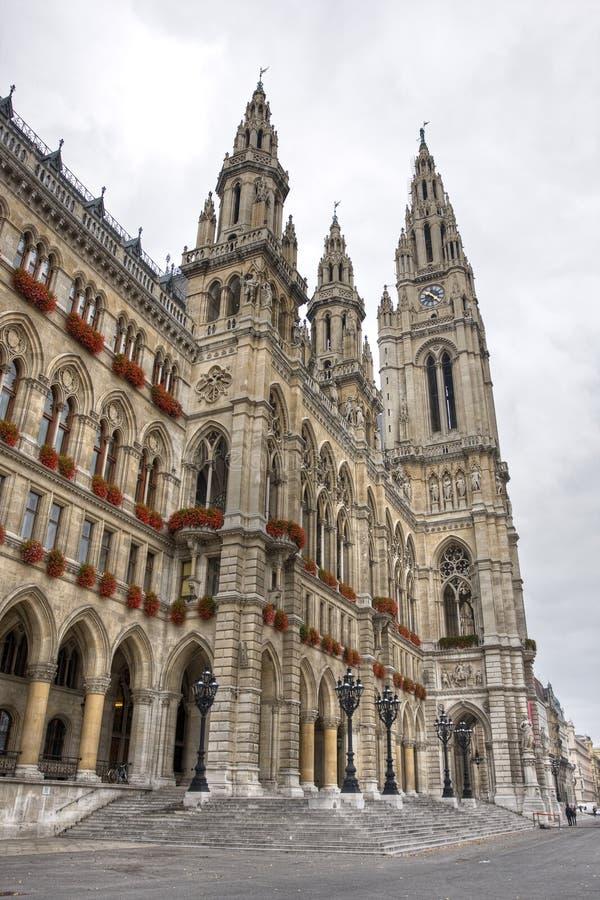 rathaus högväxt vienna för korridor för byggnadsstad gotisk arkivbilder