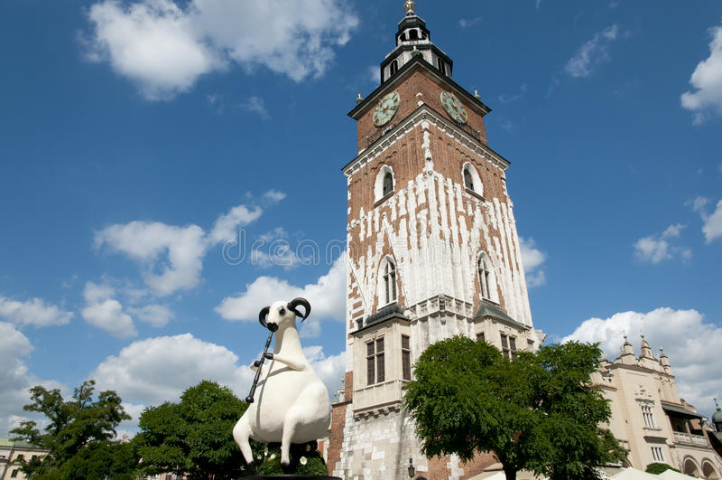 Rathaus-Kontrollturm - Krakau - Polen lizenzfreie stockfotos