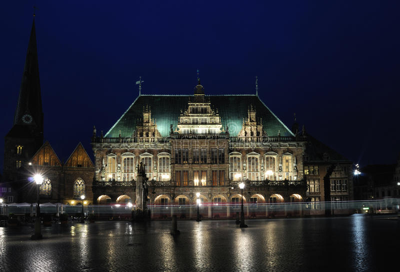 Rathaus nachts, Bremen, Gemany lizenzfreies stockbild